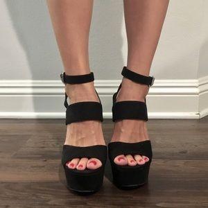 Black High Wedge Platform Heels